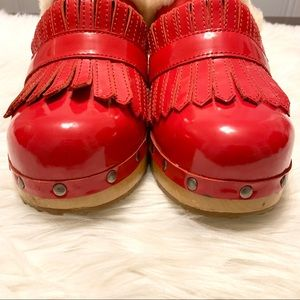 UGG Shoes - Ugg Red Patent Leather Kiltie Clogs Mules 8